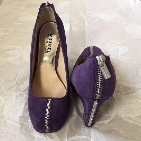 ab9cacbfbf4 Women shoes Michael Kors suede purple wedge heels.  M 5a9b378b3316277041ab2032